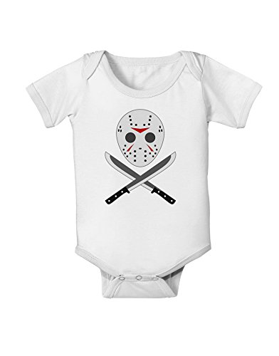 Scary Mask with Machete - Halloween Baby Romper Bodysuit - White - 6 Months