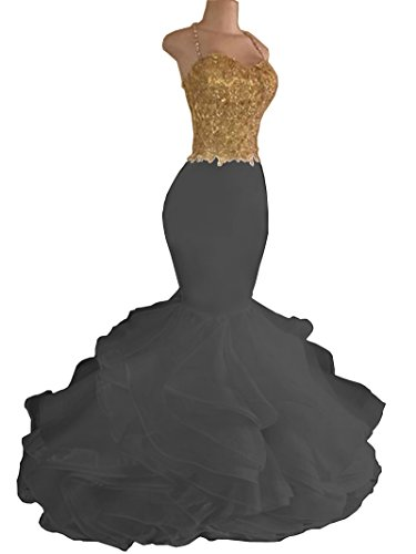 Aiyi Women's Gold Lace Mermaid Spaghetti Strap Organza Evening Prom Dress Little Black US 4 ()