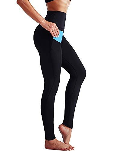 Neleus 2 Pack Tummy Control High Waist Running Workout Leggings,9017,2 Pack,Black,Blue,M,EU L