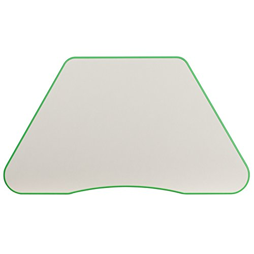 Flash Furniture 21''W x 37.75''L Height Adjustable Trapezoid Green Plastic Activity Table with Grey Top