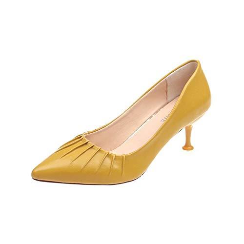 Yukun zapatos de tacón alto Tacones De Aguja Acentuados Zapatos De Trabajo De Señora Salvaje del Otoño Zapatos Solos Gato con Yellow