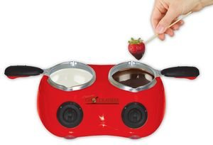 Total Chef CM20G Deluxe Chocolatiere Electric Fondue with Two Melting Pots (Red) (Fondue Dual)