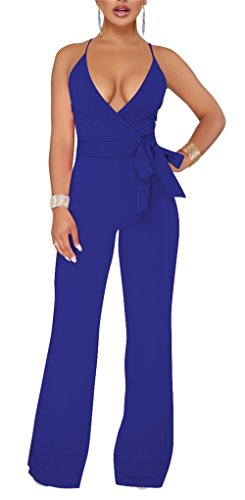 d73681b9c56 Corala Molisry Women Long Sleeve Solid Button Wide Leg Long Jumpsuits  Romper Pants with Belt