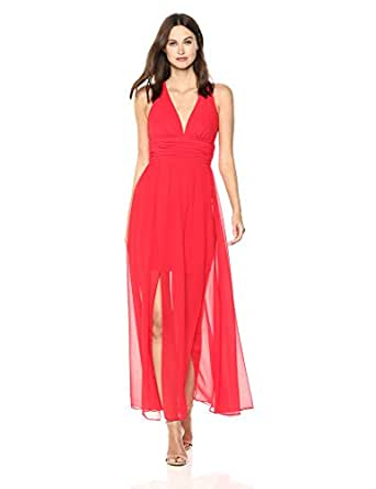 French Connection Women's Andros Crepe Light Sleeveless Sheer Maxi Dress, Shanghai Red, 0