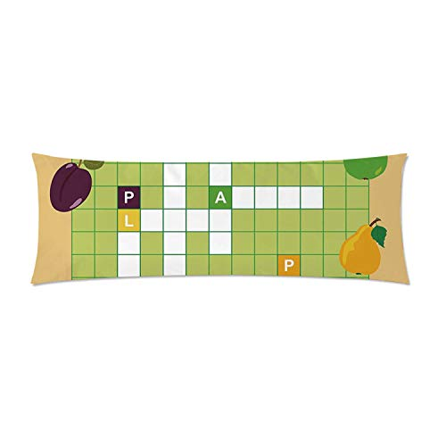 C COABALLA Word Search Puzzle Comfortable Rectangular Pillowcase,Vivid