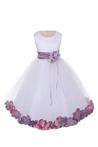 Petal Dress (Satin Bodice Communion Flower Girl Pageant Petal Dress: White/Lavender -)