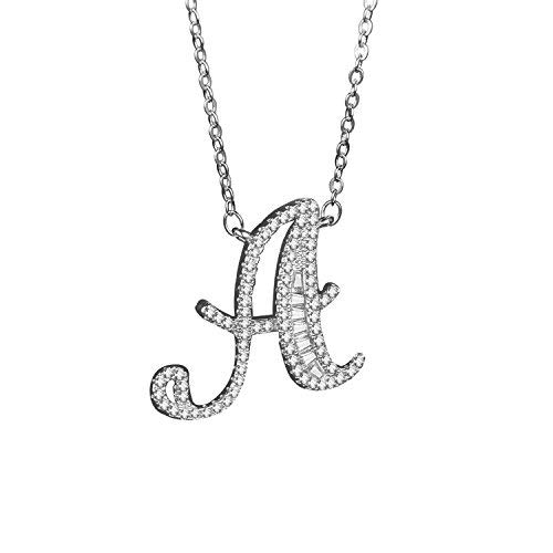 Haoze 18K Gold Plated All Inlaid with Diamond Initial Alphabet Pendant Necklace Personalized Letter Necklace Luxury Shining Pendant Necklace Gifts for Women