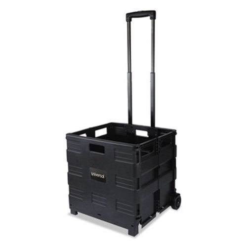 Universal 14110 Collapsible Mobile Storage Crate, 18 1/4 x 15 x 18 1/4 to 39 3/8, Black by Universal Office Products