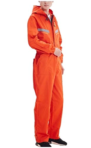 Tootless-Men Long Sleeve Loose Jumpsuits Fine Cotton Hooded Coveralls Orange -
