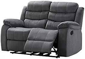 Kingway Furniture Zaffer Microfiber Living Room Loveseat in Gray