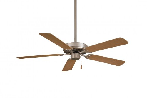 Minka-Aire F547-BS Downrod Mount, 5 Grey Blades Ceiling fan, Brushed Steel Silver