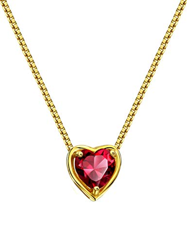 Mints 18K Gold Plated Silver Birthstone Pendant Necklace Ruby July Gemstone Heart Shape Fine Jewelry for Women