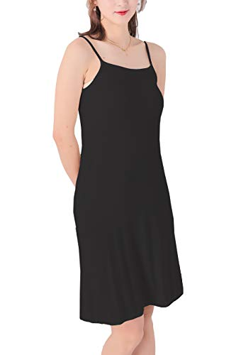 (MMissy Women Full Slips Cotton Blend V Neck Straight Dress Nightwear Black)