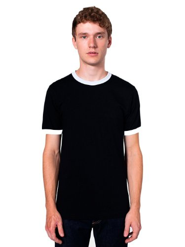 American Apparel Fine Jersey Short Sleeve Ringer T-Shirt - Black/White 2410 M