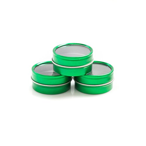 Mimi Pack LIMITED RUN 1 oz Shallow Round Tin Can Clear Window Top Lid Steel Containers For Favors, Spices, Balms, Gels, Candles, Gifts, Storage 24 Pack (Metallic Green)