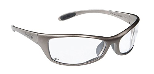 Bollé Safety 253-SR-40066 Safety Spider Eyewear with Dark Gunmetal Nylon + TPE Frame and Clear Lens (Bolle Metals)