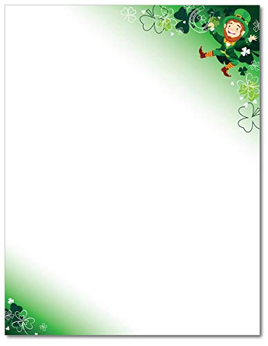 Happy Leprechaun Stationery Paper - 80 Sheets - Great for St. Patrick's Day!