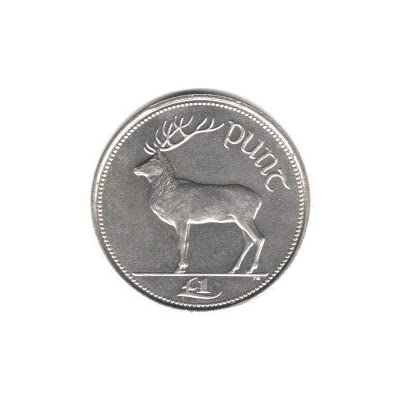 1990 Ireland Punt (Pound) Coin KM#27 - Irish Red Deer: Toys & Games