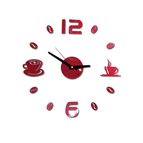 Konxxtt Wall Stickers Clock, 3D DIY Coffee Cups Mirror Wall Clock Wall Stickers for Living Room Bedroom Home Decor(Red,Diameter 15.7