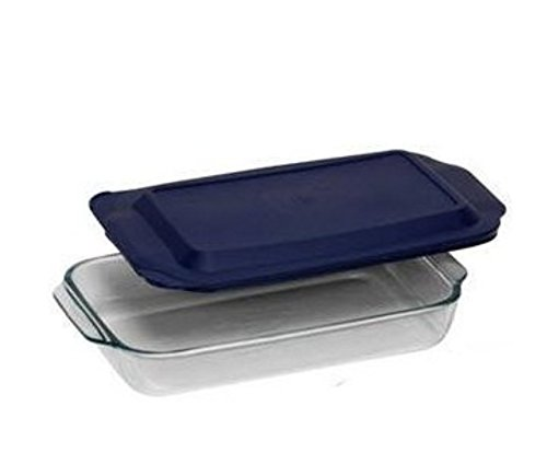 PYREX 3QT Glass Baking Dish with Blue Cover 9'' x 13'' (Pyrex) by Pyrex