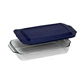 PYREX 3QT Glass Baking Dish with Blue Cover 9