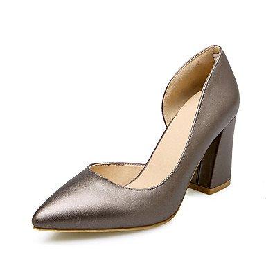 LvYuan Mujer-Tacón Robusto-Zapatos del club-Sandalias-Boda Oficina y Trabajo Vestido Informal Fiesta y Noche-Semicuero-Rojo Beige Plata Silver