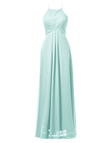 Buy light blue and gold bridesmaid dresses - 4