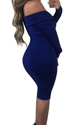 Coolred-femmes Sexy Épaule Solide Enveloppé De Manches Longues Silm Mi Robe Bleu Saphir