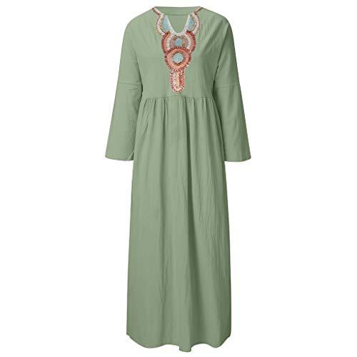 Shiretel Womens Summer Long Sleeve Linen Dress Loose A-line Party Print Sundress Dress Green from Shiretel
