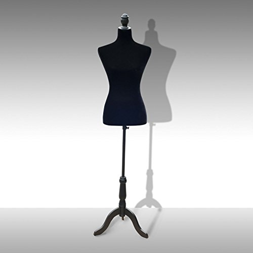 "GHP Black Adjustable Height 51.2""- 66""H Tailor Dress Form Dummy Stand Bust Display Female Mannequin -  Globe House Products"
