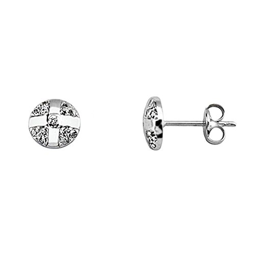 Boucled'oreille 18k or blanc lisse bandes zircons [AA6193]