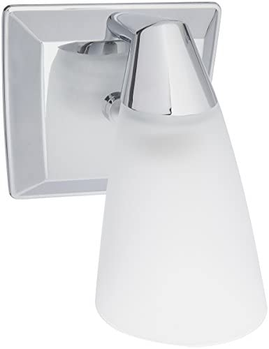 Progress Lighting P2805-15 Rizu One Light Bath Vanity, Polished Chrome Finish with White Glass