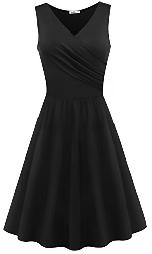 Women Summer Casual Cocktail Dress Black - 5