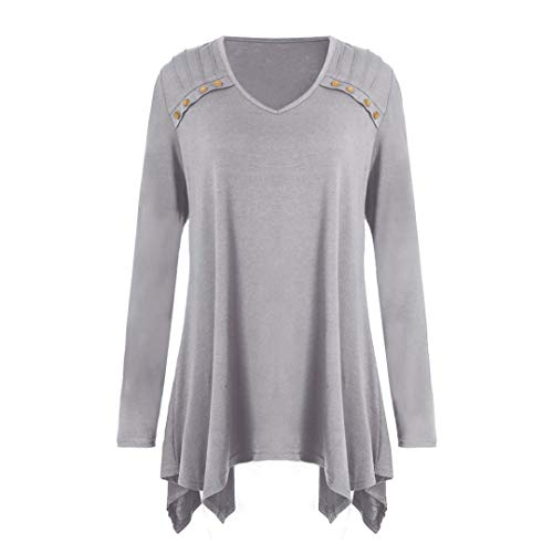 Women Autumn Blouse Winter Loose Long Sleeve Button Plus Size Tops Blouse T-Shirts ❤️ ZYEE,S-5XL Gray (The Coolest Shoes In The World For Sale)