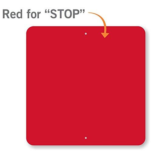 SmartSign 3M Diamond Grade Reflective Aluminum Sign, Legend ''STOP'', 24'' square, Red