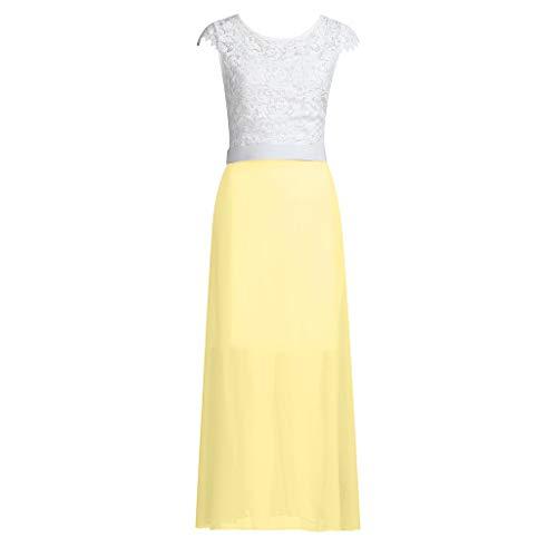 (LUNIWEI Lace Chiffon Bridesmaid Dress Long Party Prom Evening Dress Sleeveless Yellow)