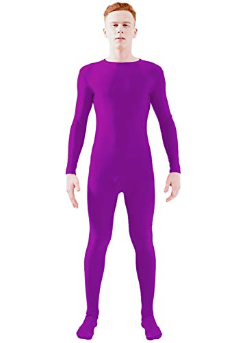 Ensnovo Adult Lycra Spandex One Piece Unitard Full Bodysuit Costume Purple, L -