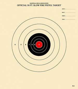 50 Feet Slow Fire Pistol Target Official NRA Target B-2 (Red, 100)