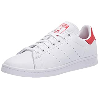 adidas Originals mens Stan Smith Sneaker, Footwear White/Footwear White/Lush Red, 4.5 US