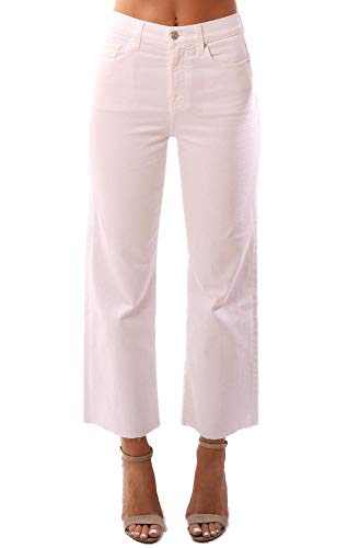 7 For All Mankind Denim Wide Leg Cropped High Waist White Jeans - White - 25
