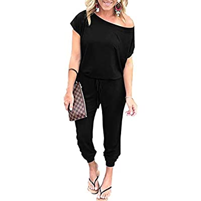 PRETTYGARDEN Women's Loose Solid Off Shoulder Elastic Waist Stretchy Long Romper Jumpsuit with Pockets: Clothing