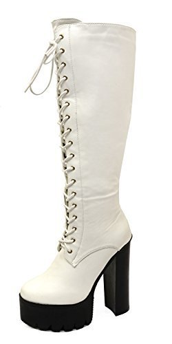 HeelzSoHigh Ladies White Knee High Zip-Up Chunky Exotic Platform Tall Boots Shoes Sizes 4-9