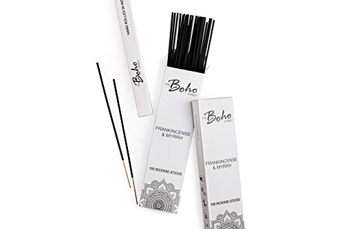 The Boho Street Premium Incense Sticks - Frankincense and Myrrh 100% Hand Rolled Hand Dipped in India 100 Sticks Pack (100) ()
