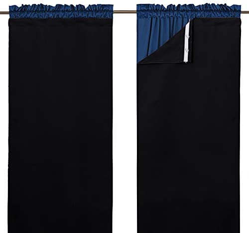 NICETOWN Window Curtain Darkening Blackout Liner for Bedroom – Thermal Insulated Blackout Drape Liners for 52 inch Wide Curtain, Hooks Included 2 Panels, Each is W45 X L77 Inches, Black