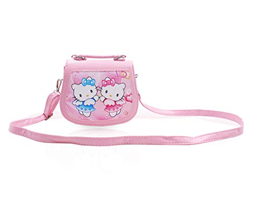 Finex Hello Kitty and Hello Mimi Pink Premium PU Leather Small Crossbody Cute Shoulder Handbag Purse Toy Purse Travel Bag for Toddler Children Kids Preschoolers Baby Little Girls