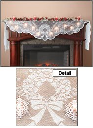 Miles Kimball Lighted Mantel Scarf White One Size Fits All (Christmas Mantel Scarf)