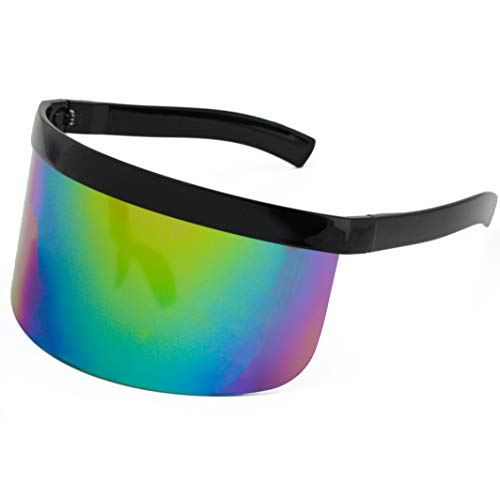Elite Futuristic Oversize Shield Visor Sunglasses Flat Top Mirrored Mono Lens 172mm (Rainbow Mirror, 172)