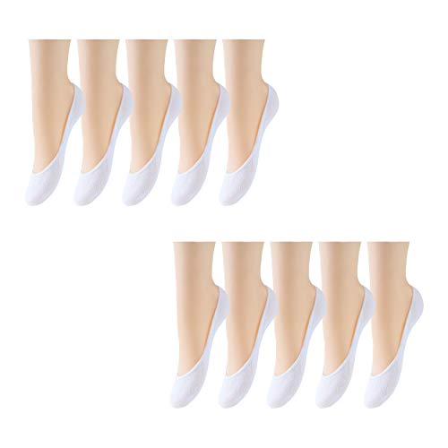 10 Pairs Ultra Low Cut Liner Socks Women No Show Non Slip Hidden Invisible for Flats Boat Summer Shoes (10 White)