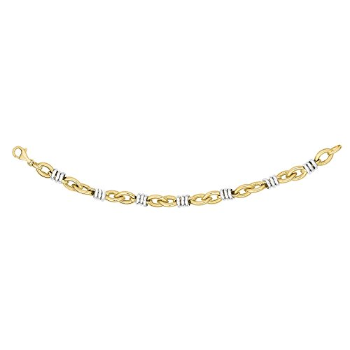 Finejewelers 14 Kt Two Tone Gold 7.75 Inch 8.8mm Round Rings On Marquis Link Fancy Bracelet Lobster Clasp