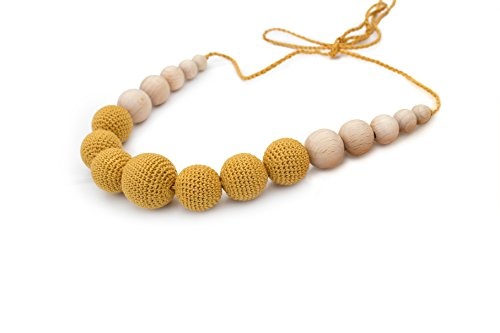 SPICY MUSTARD Natural Wood Jewelry, Breastfeeding and Babywearing Accessory, Baby Safe Crochet Teething Necklace, Stylish Mama Jewelry, Natural Pain Relief for your Baby, Best Eco Teether for Babies Spicy Wood